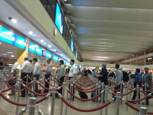 Immigrations check at Dubai International Airport