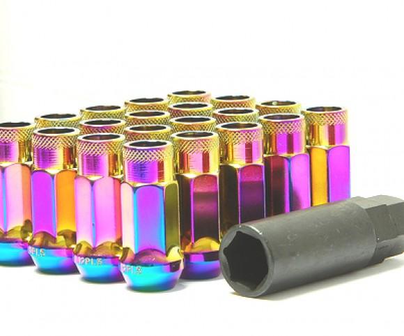 Muteki SR48 Open Ended Lug Nuts - Chrome Neon -