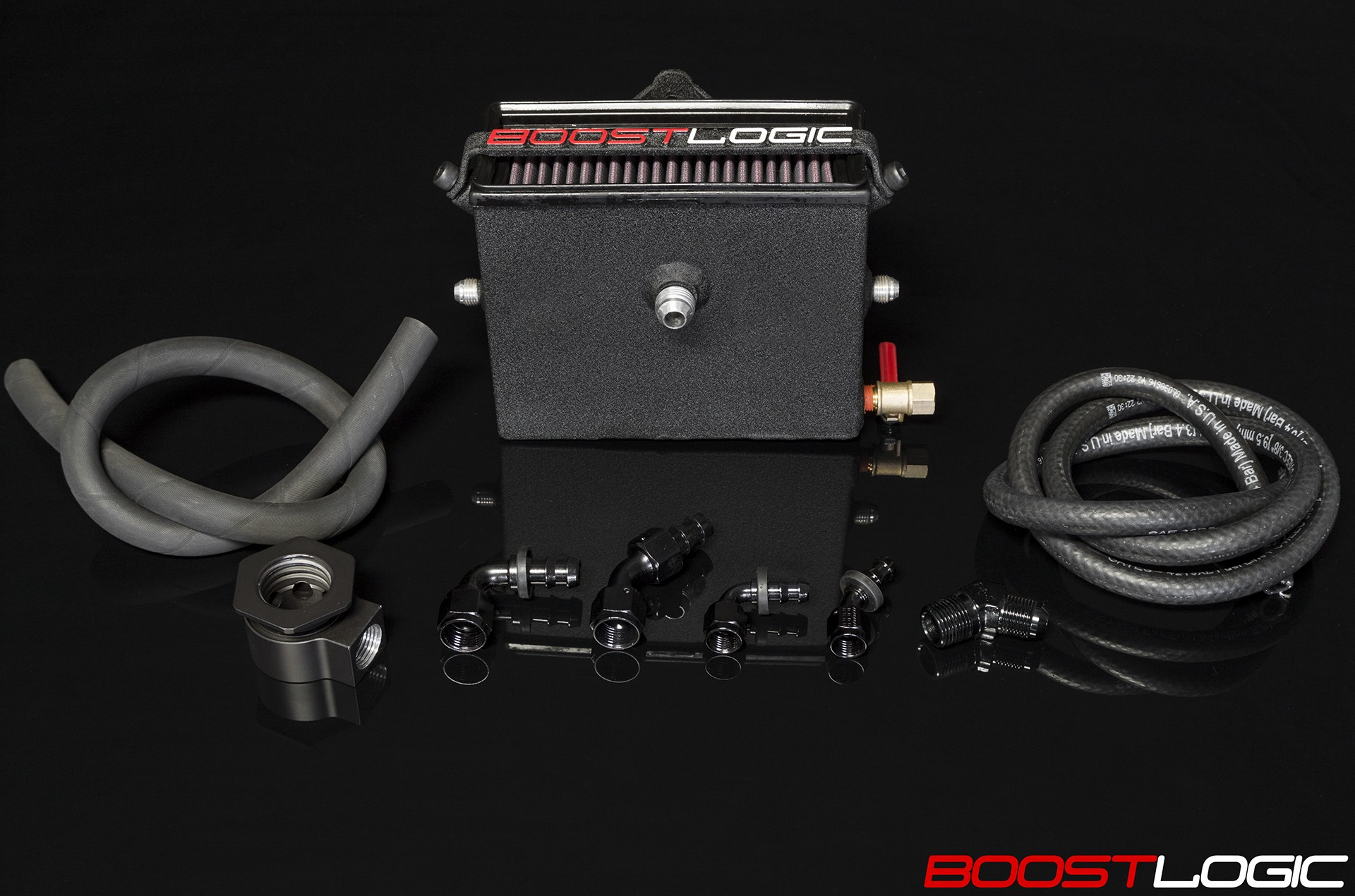 BOOST LOGIC ENGINE BREATHING SYSTEM WITH ADDITIONAL OIL FILLER NECK VENT (Catch Can)
