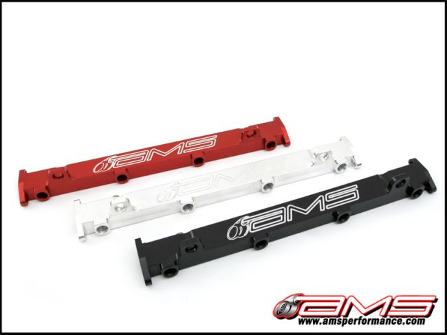 AMS CNC Machined Aluminum Fuel Rails in Black Mitsubishi Evolution VIII & IX