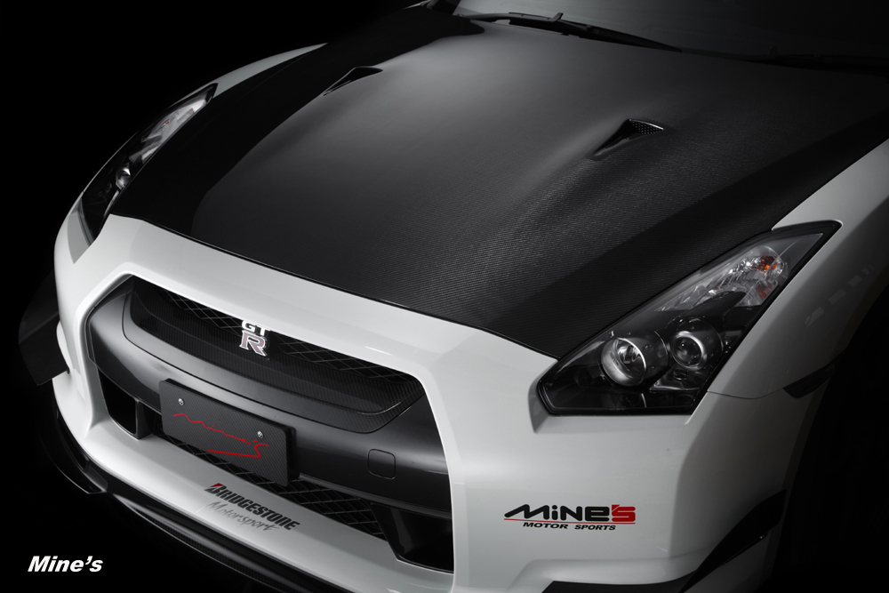 Mines Dry Carbon Fiber Hood Nissan GT-R 2009-11