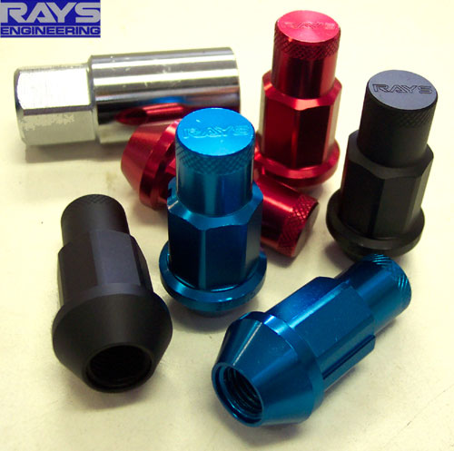 Rays Red Extended Locking Lug Nuts