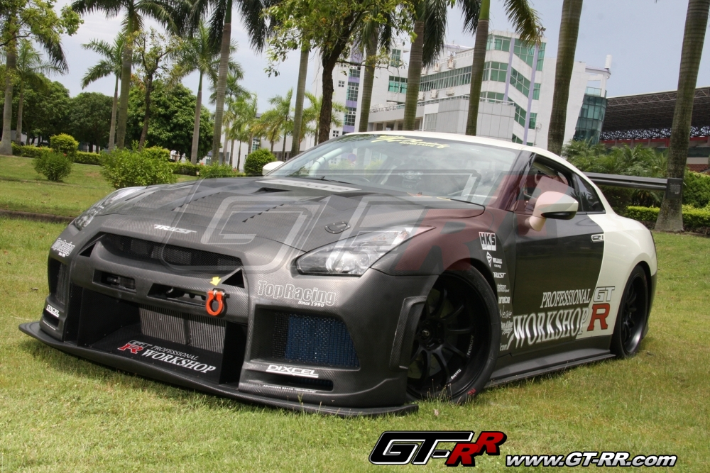 Top Racing Dry Carbon Wide Front Bumper Nissan GT R 2009 16